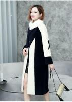 Womens Cashmere Real Mink Fur Collar Winter Long Trench Coat Outwear Jacket New