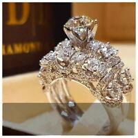 2pcs/set White Sapphire 925 Silver Ring Women Wedding Bridal Jewelry New Sz 6-10