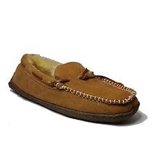 CLARKS men's size 9 Brown Indoor Outdoor Slippers Genuine Shearling Sock / fur