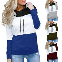 Women Loose Hooded Pullover Long Sleeve Patchwork Casual Top Sweatshirt Blouse