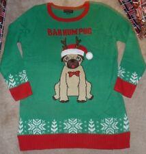 NEW PUG Dog Bah Humpug UGLY Party XMAS Christmas Holiday Sweater Women XL Tunic