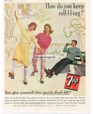 1962 SEVEN UP 7UP Man Women Roller Skating Roller Skaters Vtg Print Ad