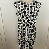 Anthea Crawford Women's Spotted Black & White Lined Sheath Dress Size 18 ~A13