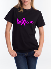 Breast Cancer Awareness T Shirt Believe Pink Ribbon Womens Ladies
