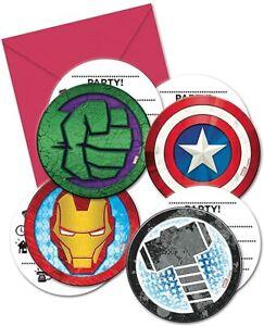 Procos PR87970 Einladungen im Briefumschlag, 4 Motive, Mighty Avengers, 6 Stück,