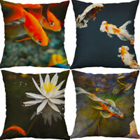 "18"" Goldfish Print Cotton linen pillow case waist cushion cover Home Decor"