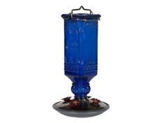 8117-2 Cobalt Blue Antique Bottle Hummingbird Feeder, 16 Ounce - Freeship