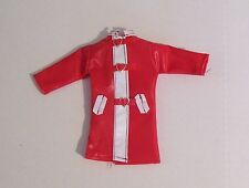 VINTAGE CLONE FASHION RED VINYL RAINCOAT FOR 11 AND 1/2 INCH DOLLS 1/6 SCALE
