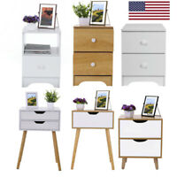 Sofa Bed Side End Table Accent Nightstand Living Room Organizer W/Drawer Open US