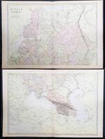 1870 John Bartholomew Large Antique 2 Sheet Map of Russia in Europe