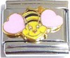 Italian Charm Love pink hearts Honey Bee Summer Insect Hive Happy