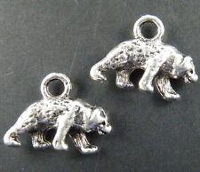 50pcs Tibetan Silver 3D Animal Bear Pendants 15.5x12mm 9338