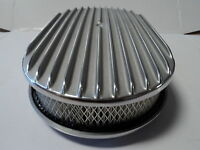 """15"""" Oval Finned Polished Aluminum Classic Nostalgia Air Cleaner Fits Chevy Ford"""