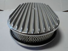 "15"" Oval Finned Polished Aluminum Classic Nostalgia Air Cleaner Fits Chevy Ford"