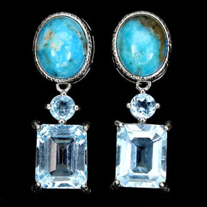 Unheated Oval Blue Turquoise 10x8mm Sky Blue Topaz 925 Sterling Silver Earrings