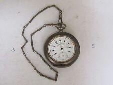 ANTIQUE OTTOMAN SILVER BUTTES KEY WIND POCKET WATCH  BRASS CHAIN-1860