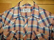 Vtg Western Fashions Red & Navy Blue Plaid Pearl Snap Cowboy Rockabilly Shirt L