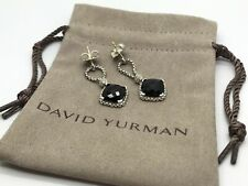 David Yurman Sterling Silver Black Onyx Cushion on Point Diamond Chain Earrings