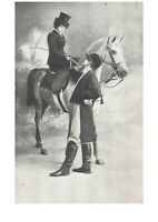 Woman on White Horse Loving Look Fancy Romantic Couple Victorian Lovers Postcard