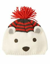 NWT Gymboree King of Cool Polar Bear Sweater Hat Sz: 6-12 mos Ivory/Red/Gray