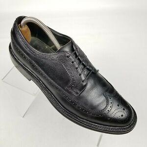 Vintage Bostonian Mens Longwing Oxfords Black Leather Brogue Shoes Size 9 C