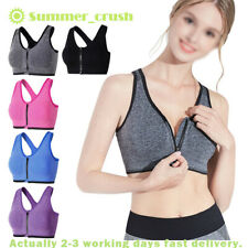 Women Padded Seamless Sport Bra Front Zip Yoga Gym Fitness Workout Running Vest