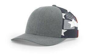 Richardson Printed Mesh Trucker Cap Baseball Hat 112PM Heather/ Star & Stripes