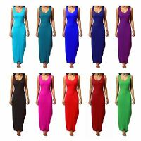 Women Ladies Jersey Long Summer Vest Racer Muscle Back Maxi Dress Plus Size 8-26