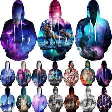Nebula Graphic 3D Print Women Men Zip Up Hoodie Jumper Sweatshirt Top Coat S-4XL