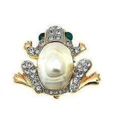 Pearl and Crystal Frog Hsn $70 Kjl by Kenneth Jay Lane Simulated