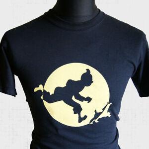 Tin Tin T Shirt Tintin Snowy Captain Haddock Cartoon Retro Cool Comic Black