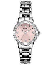 Bulova Women's Quartz Diamond Accents Pink Dial Silver Tone 26mm Watch 96R171