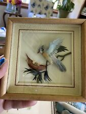 Gorgeous Antique 3D Blue Bird Picture Frame Encased Glass - Real Feathers