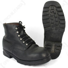 Original Swiss Army Surplus Vintage Mens Leather Mountain Boots with Rubber Sole