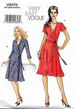 VOGUE SEWING PATTERN 8379 MISSES 8-14 EASY WRAP DRESS W/ SOFT PLEATS & SIDE TIE