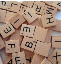 100 WOOD SCRABBLE Letters WOODEN BLACK LETTERS BOARD CRAFTS GENUINE UK NEW