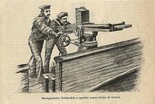 Stampa antica MITRAGLIATRICE NORDENFELT a 4 CANNE marinai 1886 Old antique print