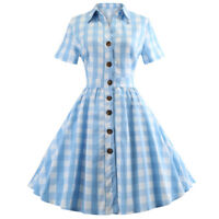 50s Women Vintage Rockabilly Button Down Pinup Plaid Swing Evening Party Dress