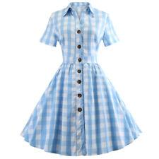 Plus Size Womens 1950s Vintage Rockabilly Classic Plaid Retro Casual Swing Dress