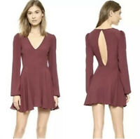 Lovers + Friends Long Sleeves Mini Dress S Asymmetrical Burgundy Keyhole Back