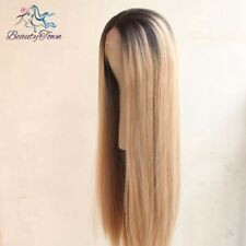 Natural looking Brown To Blond 2 Tones Straight Wigs For Women Synthetic Hair