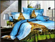 400TC 100%Cotton Pairs Eiffel Tower Queen Quilt Doona Duvet Cover Set Blul Gold