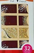 Kiss Nail Stick on NAIL DRESS STRIPS French or Full 32 Strips Gold/Burgandy Silk