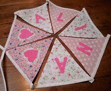 Personalised Name Bunting Girls Pink Floral,  £1.25 PER FLAG