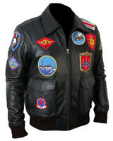 Top Gun Tom Cruise Black Bomber Leather Jacket Air Force Pilot Pete Maverick