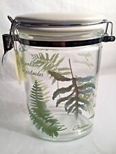Cypress Home Small Glass Canister Decorated With Ferns & Fronds w/Locking Clamp