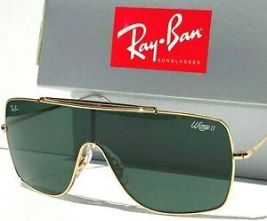 NEW* Ray Ban Wings 2 Gold Aviator Shield G-15 Green Sunglass RB 3697 9050/71