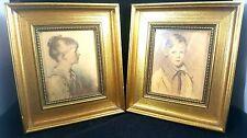 Pair Vintage Art 1919 Peter 1923 Charlotte Edward Gross Co Gold Nursery Decor