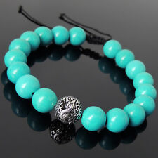 Mens Women 10mm Blue Turquoise Braided Bracelet Sterling Silver Dragon Bead 920