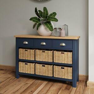 Dovedale Blue 3 Drawer 6 Basket Sideboard / Modern Side Cabinet Cupboard